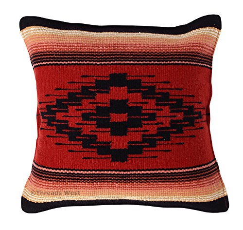 Threads West Throw Pillow Covers 18 X 18 inches, Hand Woven Southwest, Mexican, and Native American Styles. Hand Crafted Western Decorative Pillow Cases (Terracota) by Threads West
