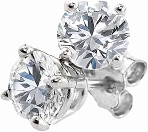 Dazzlingrock Collection 1.27 Carat (ctw) 14K Round Cut White Diamond Ladies Stud Earrings, White Gold
