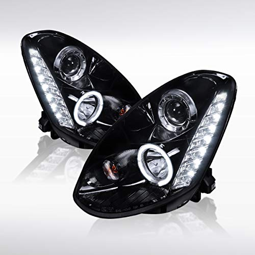 (Autozensation For Infiniti G35 4Dr Glossy Black Halo SMD LED Projector Headlight Pair)