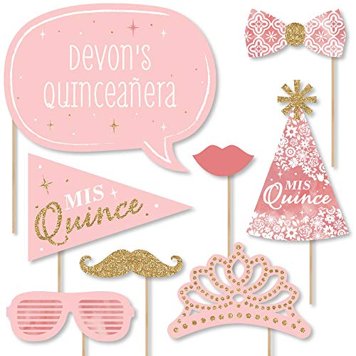 Big Dot of Happiness Custom Mis Quince Anos - Photo Booth Props - Personalized Quinceanera Sweet 15 Birthday Party Supplies - 20 Selfie Props]()