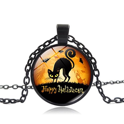 Lucoo Fashion Vintage Happy Halloween Glass Chain Pendant Necklace NEW (Best Halloween Costumes 1990s)