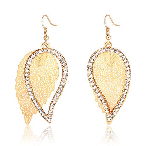 Liao Jewelry Filigree Leaf Dangle Earrings Pave Crystal Hollow Leaves Drop Earrings Double Layer Rhinestone Teardrop Earrings for Women (Gold)