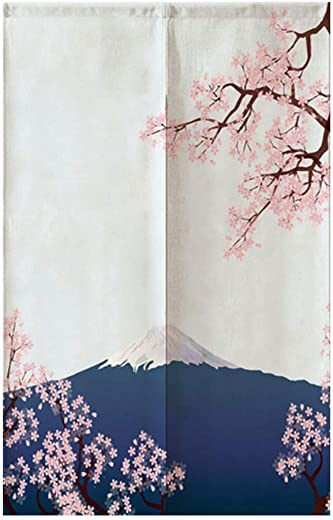TJ Global Japanese Noren Doorway Curtain Tapestry for Home or Restaurant – 33.5 x 59 Cherry Blossoms