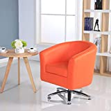 Designer Leather Swivel Tub Chair Armchair Dining Living Room Office Reception (Orange)