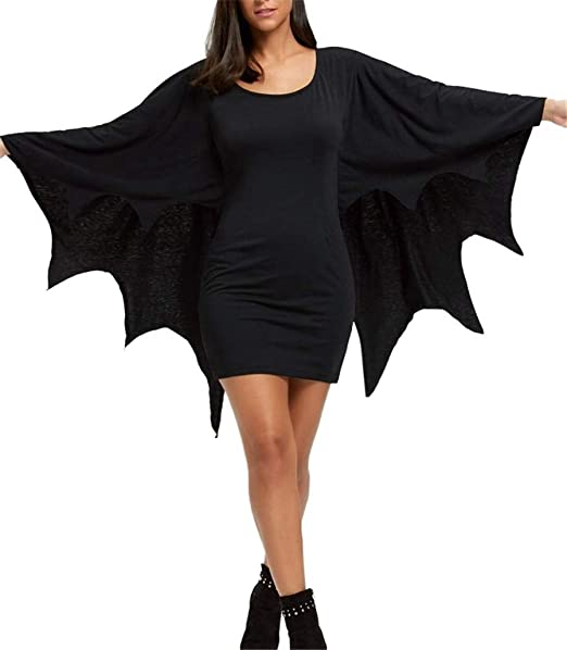 iNewbetter Halloween Costume Batwing Long Sleeve Cosplay Outfit Black Mini  Bodycon Bat Dresses for Women Plus Size