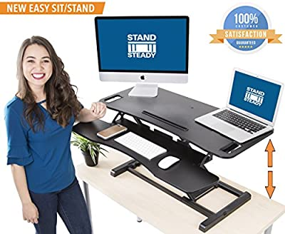 """Stand Steady FlexPro Hero 37"""" - Two Level Standing Desk -Easily Sit or Stand in Seconds! Large Work Space w/ Extra Level for Keyboard & Mouse! Instantly Convert Any Surface to a Stand Up Desk"""