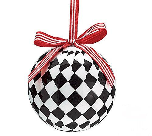 amazoncom black white checkered christmas tree 3 ball ornament home kitchen - Black And White Christmas Ornaments