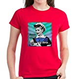 CafePress - I Love Lucy: Wine Women's Dark T-Shirt - Womens Cotton T-Shirt