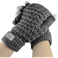 Touch Screen Gloves, Women Girls Boys Winter Thick Wool Knit Warm Gloves Touchscreen Texting Gloves Outdoor Cycling Motorcycle Hiking Driving Skiing Windproof Thermal Mittens Gloves Hand Warmer Gift