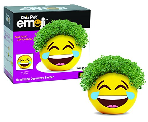 (Chia Pet Emoji Tears of Joy, Decorative Pottery Planter, Easy to Do and Fun to Grow, Novelty Gift, Perfect for Any)