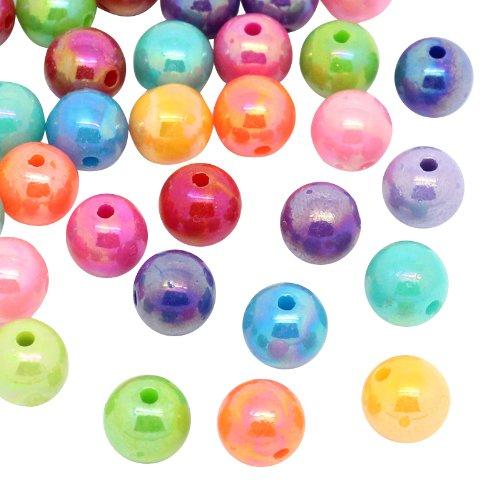 HOUSWEETY 300 Mix Mehrfarbig Kugeln Rund Acryl Spacer Perlen Beads 8mm