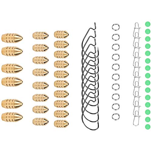 Alomejor 69 pcs Fishing Lure Set with Luminous Beads Ring CopperBullet and Fishing Hook Fishing Lures Bait Kit