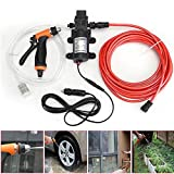 BSTOOL Car Wash Pump Kit, Portable 131PSI 80W High Pressure Electric Car Water Washer Pump Sprayer 12V