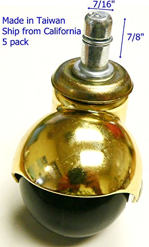 "Oajen 2"" Bright Brass Ball Caster with PVC"