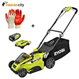 Toucan City Ryobi 16'' 40-Volt Lithium-Ion Cordless Battery Walk Behind Push Lawn Mower with 4.0 Ah Battery and Charger Included RY40140 and Nitrile Dip Gloves(5-Pack)