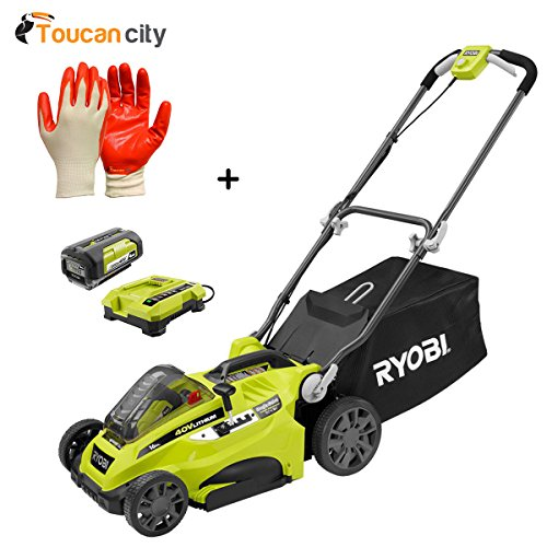 Toucan City Ryobi 16'' 40-Volt Lithium-Ion Cordless Battery Walk Behind Push Lawn Mower with 4.0 Ah Battery and Charger Included RY40140 and Nitrile Dip Gloves(5-Pack) by Toucan City
