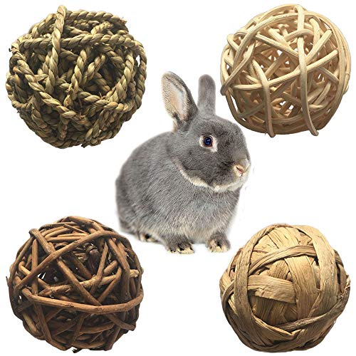 PIVBY Small Animal Activity Toy,Pets Play Chew Toys for Bunny Rabbits Guinea Pigs Gerbils, 4 Pack Chew Small Animal Toy