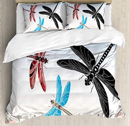 (Ambesonne Dragonfly Duvet Cover Set King Size, Exotic Dragonflies Flying in Cloud Sky Animal Wing Nature Illustration, Decorative 3 Piece Bedding Set with 2 Pillow Shams, Black Blue Light)