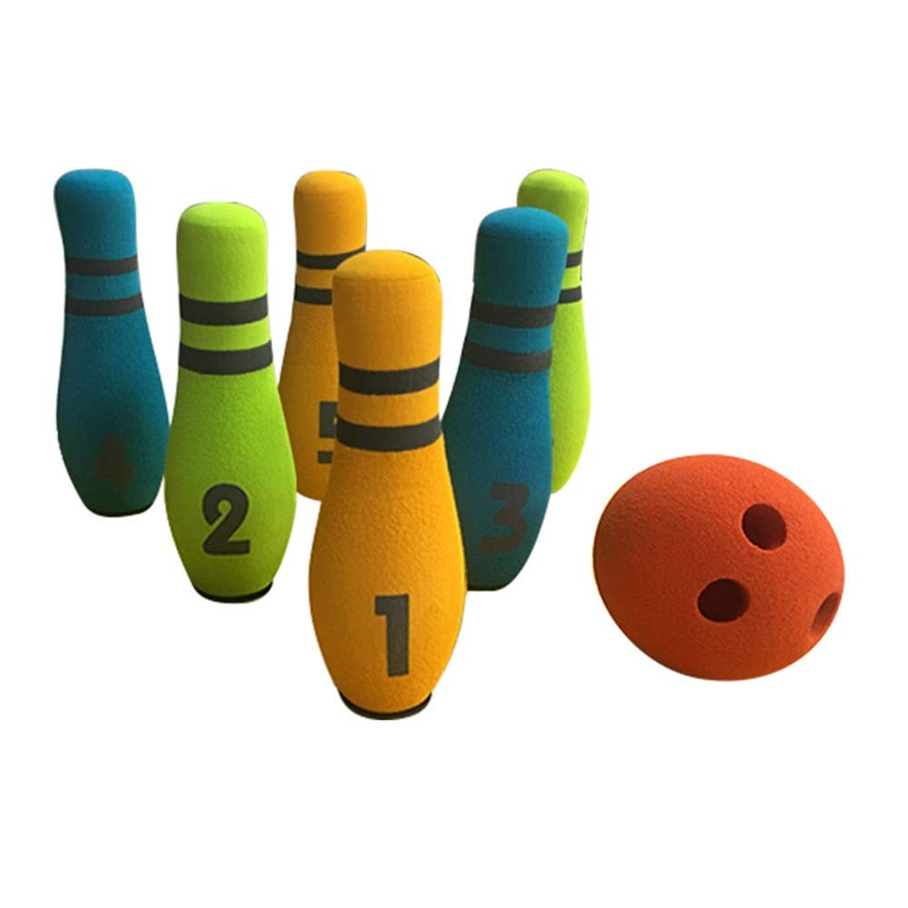 Fun Indoor Game Bowling Pins Bowling Set Toy 6 Colorful Pins 1 Ball Educational Development Sports Indoor Outdoor Play Game for Kids Children Toddlers Boys Girls for Kids Toddlers Boys Girls Children by Techecho-toy