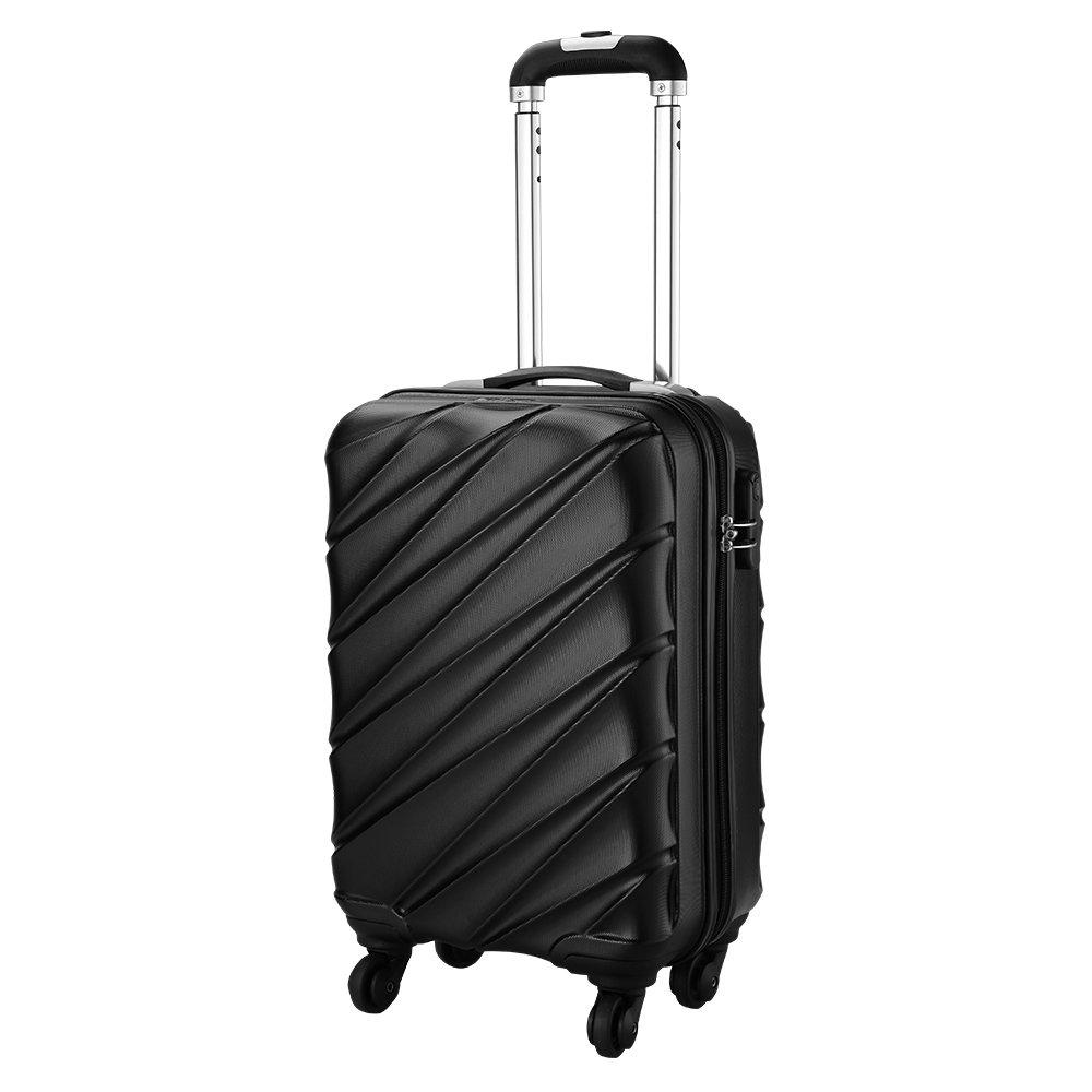 Bagage Cabin Max Tuscany 2.0 Ultra Léger 2.4kg ABS Coque Solide Voyage Transport Bagage Cabine Bagage à Main Valise à 4 Roulettes, Autorisée par Ryanair, Easyjet, et Bien d'Autres (Noir) Autorisée par Ryanair