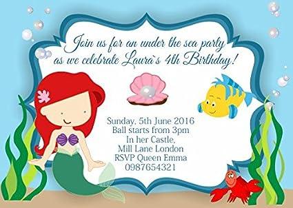 10 X La Sirenita Ariel Personaliseitonline Invitaciones Para