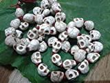 attractive skeleton white beads mala with red tessal for japa and meditation
