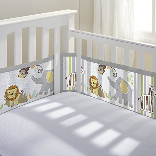 Breathable Baby Breathable Mesh Crib Liner | Doctor Endorsed | Prevents Babies from Getting Stuck in Crib Slats | Fits 4 Sided Slatted & Solid Back Cribs | Safari Fun Too