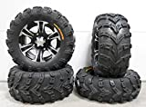 Bundle - 9 Items: ITP SS312 14'' Wheels Black 26'' Bear Claw EVO Tires [4x156 Bolt Pattern 3/8x24 Lug Kit]
