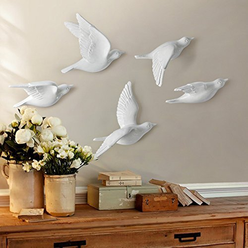 Cocode 3d wall murals stick wall decals removable wall decals stickers ceramic art flowers bird white