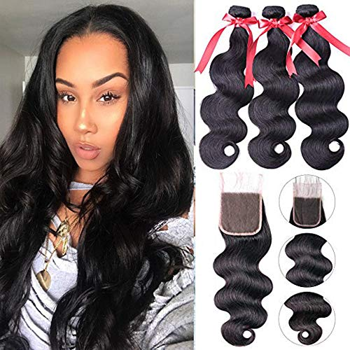Beaudiva Hair Brazilian Body Wave Human Hair 3 Bundles with Closure Free Part (16 18 20 +14 Closure) 100% Unprocessed Virgin Human Hair extensions With body wave Lace Closure Natural Black