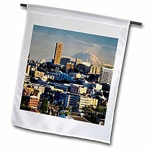 Danita Delimont - Seattle - USA, Washington, Seattle. Mt. Rainier, Lake Union - US48 RDU0273 - Richard Duval - 12 x 18 inch Garden Flag (fl_96648_1)