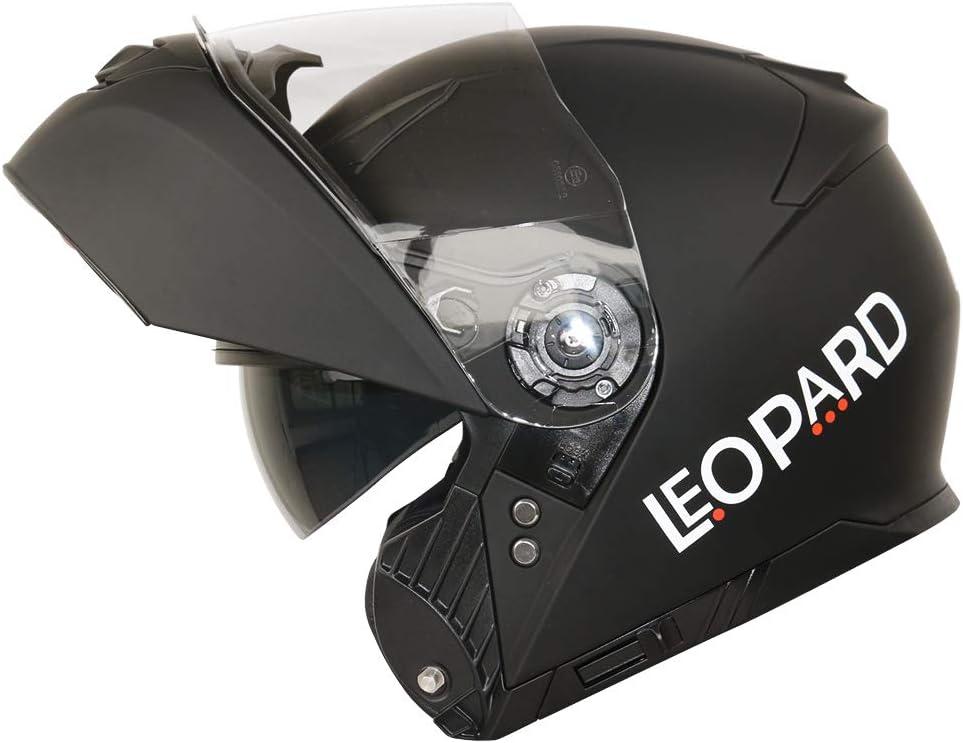 Motorradhelm Damen und Herren ECE Genehmigt XS-XXL Leopard LEO-888 Doppelvisier Klapphelm Integralhelm