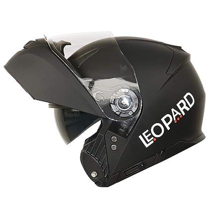 Amazon.es: Leopard LEO-888 DVS - Casco Modular de Motocicleta con Visera Doble, con Visor Solar. Color Negro Mate. Talla: M.