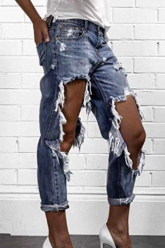 M Pantaloni Le Strappati Jeans Tira Fuori Su Donne Denim Tratto Dazosue Blu Eleganti 7dOxqvWq