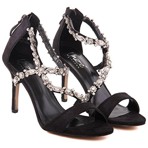 Unze Nuevas mujeres 'Gigi' Diamante Embellecido Peep Toe Alta Medias Talón de la tarde, Boda, Prom Party Shoes Tallas 3-8 Negro