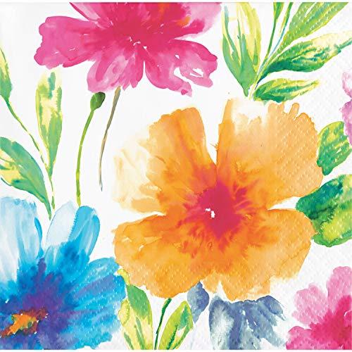 Watercolor Floral Beverage Napkins, 48 ct