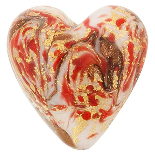 Heart 20mm Gold Foil Murano Glass Bead Red and Aventurina, Marmo