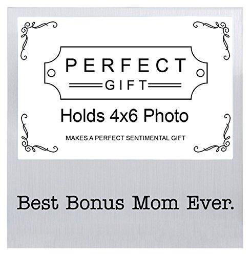 Best Bonus Mom Ever Mother's Day Gifts for Bonus Mom Silver Metal 4x6 Landscape Picture Frame (6 Wreath Frame)