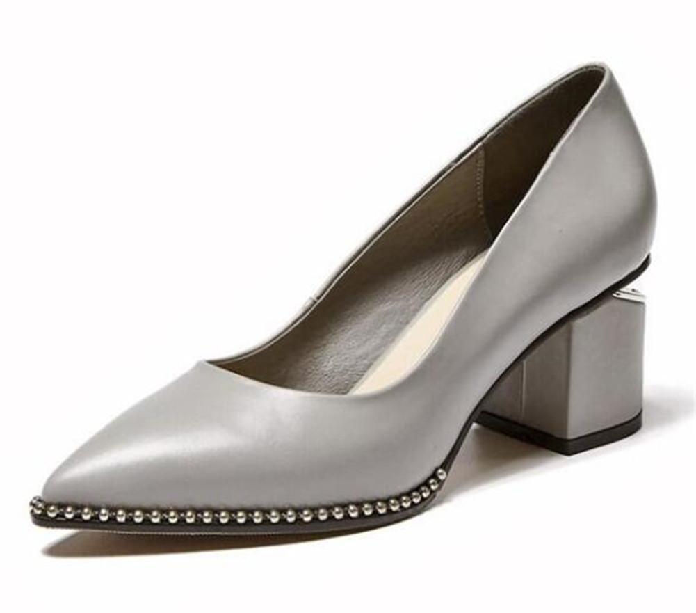 Frauen Schuhe aus echtem Leder wies Blockabsatz Pumps Größe 36 to39