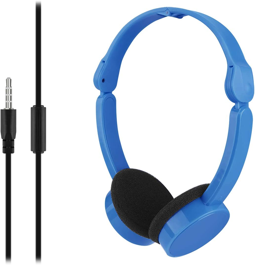 LinkIdea Headphones for Kids, Adjustable Volume Hearing Protection Child Wired Headset, Portable Foldable 3.5mm Jack On-Ear Headphone for Children Girls Boys Compatible with BlackBerry, iPad (Blue)