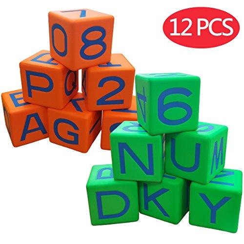 Macro Giant 3.2 Inch Alphabet Blocks, Set of 12, Neon Orange & Neon Green, Educational Language Math Learning Aids, Arabic Number 0-9, Toy Bricks, Playing Dice