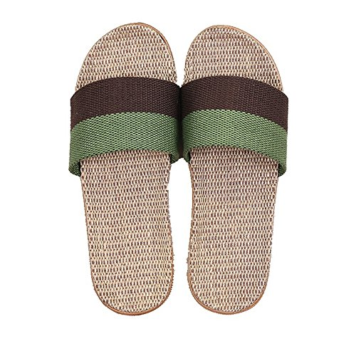CYBLING Breathable Summer Men Women Linen House Slippers Lightweight Open Toes Slip On Indoor Slipper Browngreen CC4XthLGP0