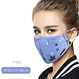 Dust Mask 5 Layer Activated Carbon Filter Washable Replaceable Filter For Man And Women (One Mask + 10 filters) Women Blue Star