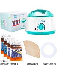 Waxing Kit, Plazuria Hair Removal Hot Paraffin Pearl Wax Warmer Heater Pot Machine(2018 Latest Version Anti-Drop)+ 4 Hard Wax Beans + 30 Wax Applicator Sticks + 2 Disposable Collars