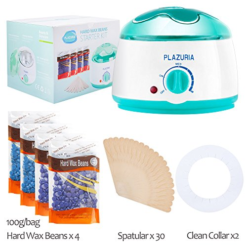 Waxing Kit, Plazuria Hair Removal Hot Paraffin Pearl Wax Warmer Heater Pot Machine(2018 Latest Version Anti-Drop)+ 4 Hard Wax Beans + 30 Wax Applicator Sticks + 2 Disposable Collars