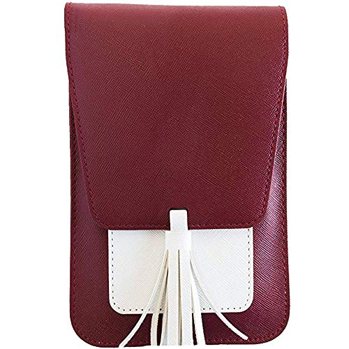 Londony❀♪ Roomy Pockets Series Small Crossbody Bags Cell Phone Purse Wallet for Women,Tassel Cell Phone Purse Wallet White