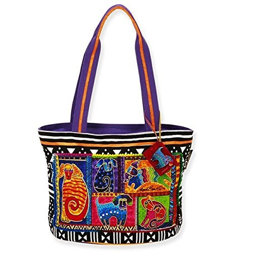 - Laurel Burch Dog Tails Patchwork Medium Tote 5210 (Multi)