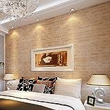 Dtemple Wallpaper, 10M Non-woven 3D Brick Locks Rolls Wallpaper/Room Improvement Vintage Wallpaper for Bedroom Living Room Home Wall Decor, US Stock (Vintage Yellow)