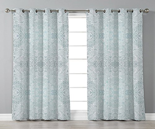 Thermal Insulated Blackout Grommet Window Curtains,Floral,Ornamental Swirled Flower Lines Abstract Victorian Retro Curves Rococo Print,Light Blue White,2 Panel Set Window Drapes,for Living Room Bedroo ()