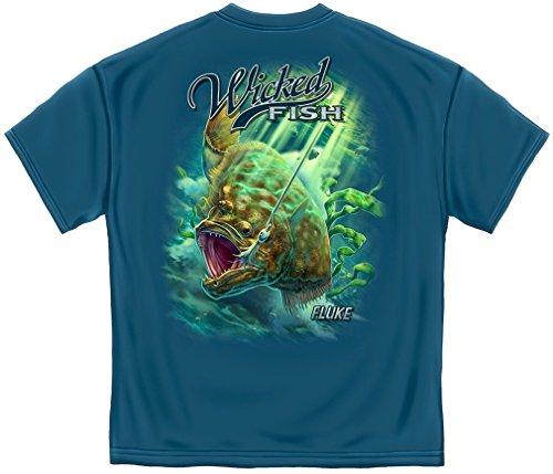 Fishing T-Shirt Wicked Fish Fighting Buck Tail Fluke Lure Large Indigo Blue ()